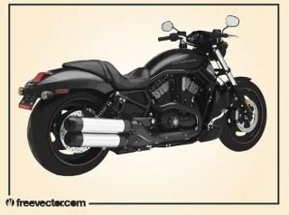 Black Harley Davidson Motorcycle Free Vector