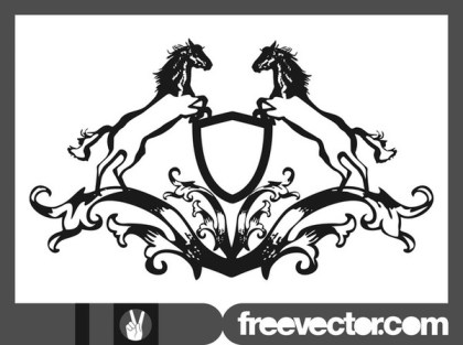 Blazon With Horses Free Vector