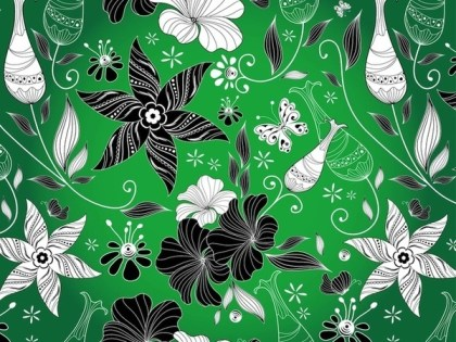 Blooming Flowers Pattern Free Vector