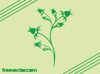 Blooming Green Flower Silhouette Free Vector