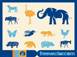Blue Animal Silhouettes Free Vector