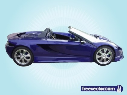 Blue Convertible Sports Car Free Vector