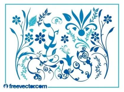Blue Flower Swirls Free Vector
