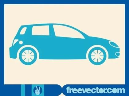 Blue Hatchback Car Free Vector