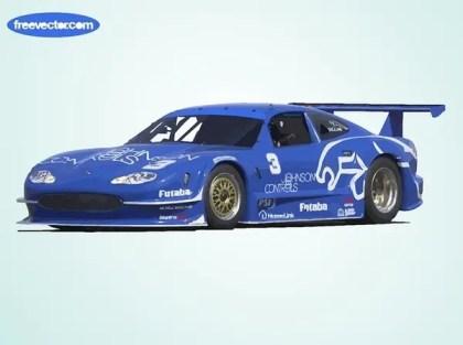 Blue Jaguar Race Car Free Vector