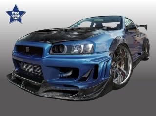 Blue Nissan Skyline Free Vector