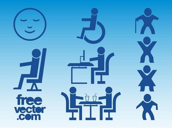 Blue People Icons Free Vector