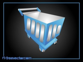 Blue Shopping Cart Free Vector