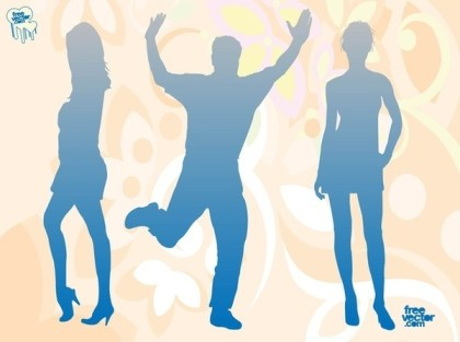 Blue Silhouettes Free Vector