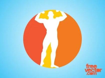 Bodybuilder Icon Free Vector