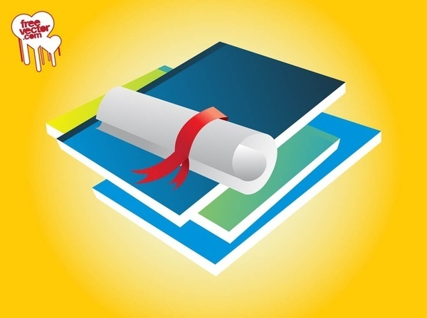 Books and Diploma Free Vector