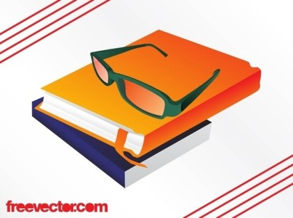 Books and Glasses Free Vector