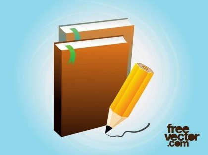 Books and Pencil Free Vector