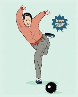Bowling Man Free Vector