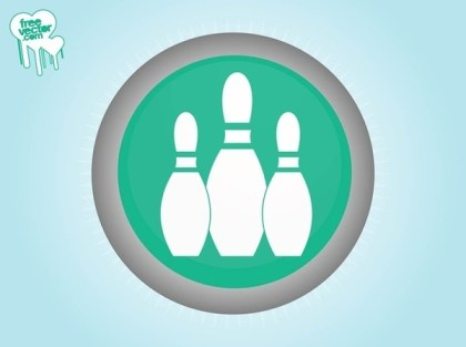 Bowling Pins Icon Free Vector