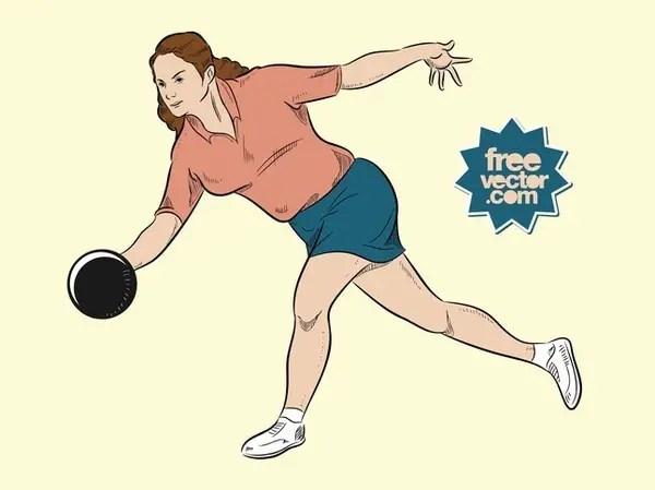 Bowling Woman Free Vector