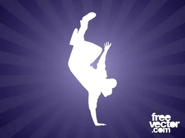 Breakdancer Silhouette Free Vector