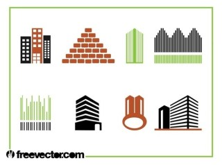 Buildings Icon Set Free Vector