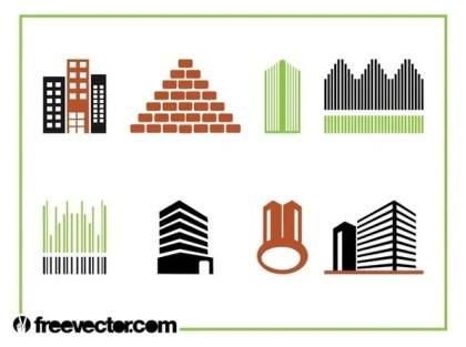 Buildings Icon Set Free Vector