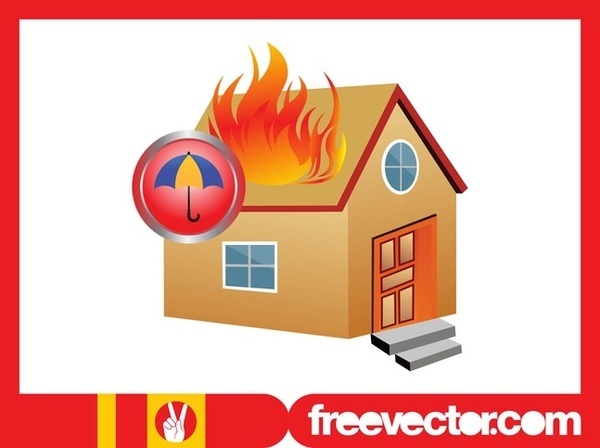 Burning House Free Vector