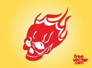 Burning Skull Free Vector