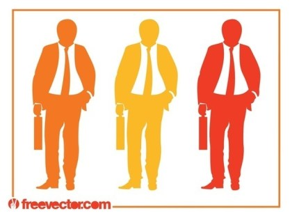 Businessman With Briefcase Silhouettes Free Vector