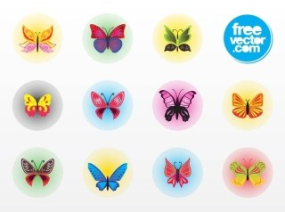 Butterfly Badges Free Vector