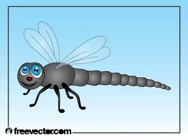 Cartoon Dragonfly Free Vector