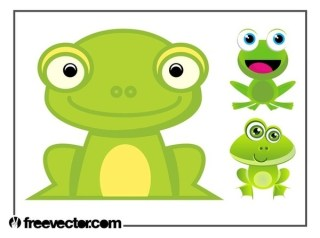 Cartoon Frogs Set Free Vector