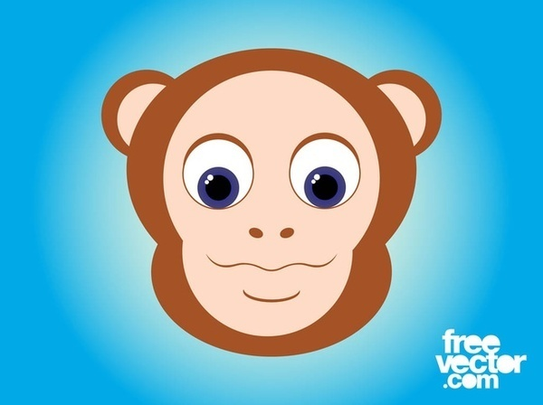 Cartoon Monkey Head Free Vector