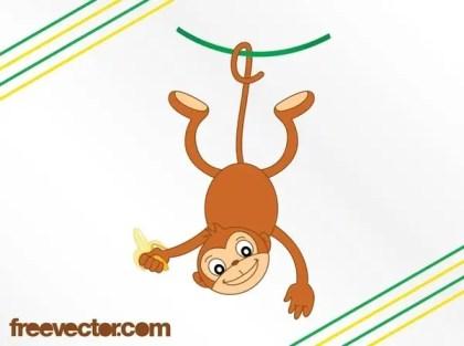 Cartoon Monkey With Banana Free Vector