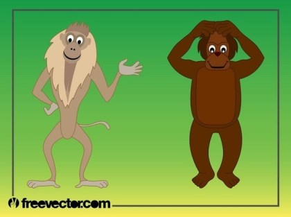 Cartoon Monkeys Free Vector