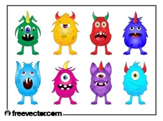 Cartoon Monsters Set Free Vector