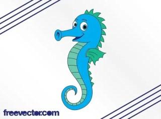 Cartoon Seahorse Free Vector