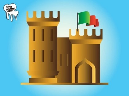 Castle With Flag Free Vector