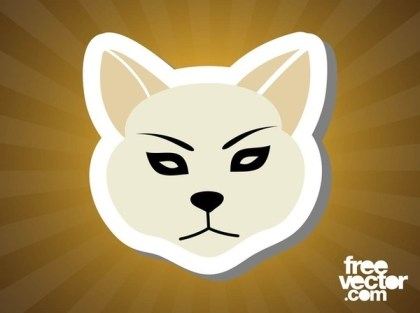 Cat Sticker Free Vector