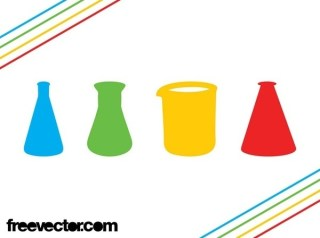Chemistry Flasks Icons Free Vector
