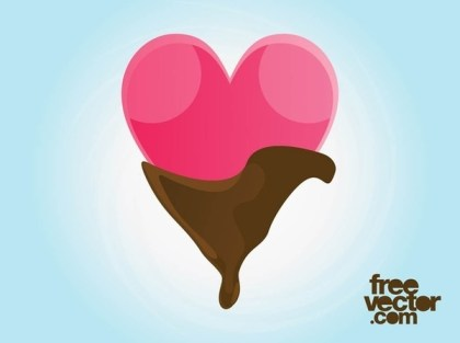 Chocolate Heart Icon Free Vector