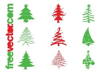 Christmas Trees Icons Free Vector