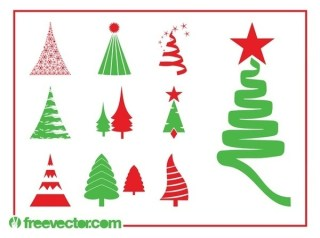 Christmas Trees Set Free Vector