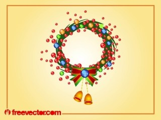 Christmas Wreath Art Free Vector