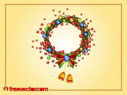 Christmas Wreath Art Free Vector