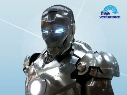 Chromed Iron Man Torso Free Vector