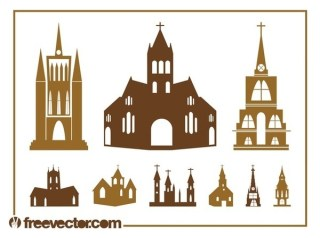 Church Silhouettes Set Free Vector