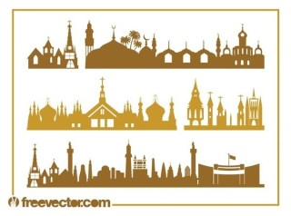 Churches and Skylines Free Vector