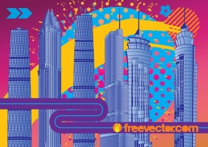 City Fireworks Free Vector