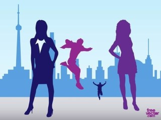 City People Silhouettes Free Vector