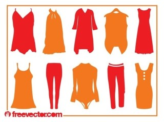 Clothing Silhouettes Free Vector