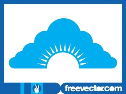 Cloud and Sun Icon Free Vector