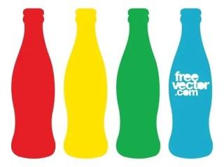 Colorful Beverage Contour Bottles Free Vector